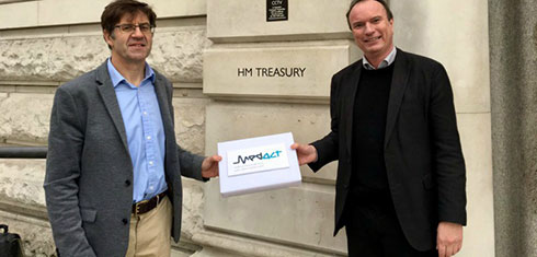 Professors Chris Griffiths and Jonathan Grigg outside the HM Treasury building in London