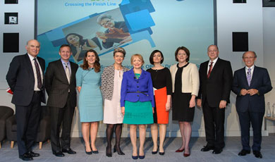 Left to right: Rt Hon Vince Cable (Secretary of State for Business), Antony Jenkins (Group CEO Barlcays), Denise Wilson (Women on Boards Steering Group), Caroline Turner (report co-author), Prof Susan Vinnicombe (report co-author), Dr Elena Doldor (report co-author), Rt Hon Maria Miller (Secretary of State for Culture, Minister for Women and Equalities), Mark McLane (Global Head of Diversity and Inclusion, Barclays), and Lord Mervyn Davies (Women on Boards Steering Group).