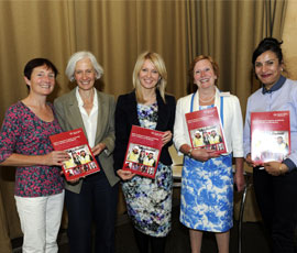 left to right: Kath Moore, WiC Project Manager; Tessa Wright, CRED; Minister of State for Employment, Esther McVey; Judy Lowe, Deputy Chairman of CITB; Ranjit Samra, WiC Project Manager