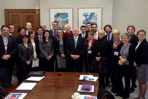 Fellows at the Foreign and Commonwealth Office with the UK Foreign Secretary, William Hague