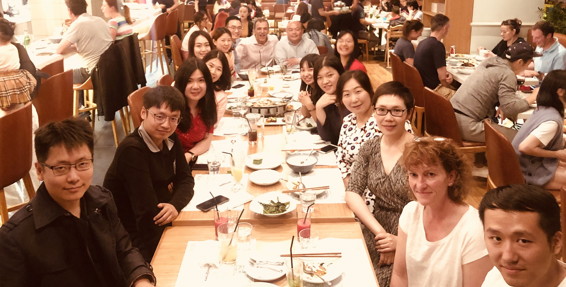 Prof Walden and Christine Zhou with alumni in Beijing