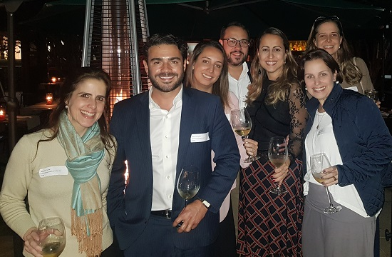 CCLS alumni enjoying after dinner drinks at a Sao Paolo reunion in June 2019