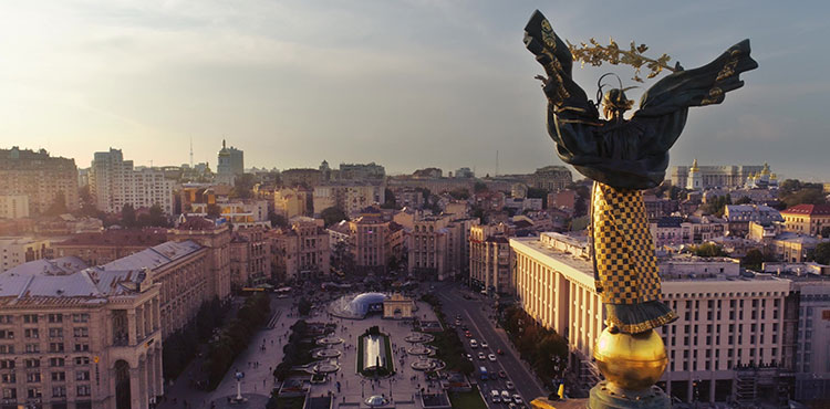 Independence square in Kyiv, from the top of the Independence Monument