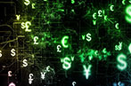 Lots of currency symbols in a neon green floating on a black background