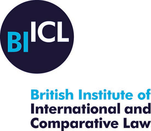 British Institute of International and Comparative Law logo with a navy blue circle in the top left corner with the initials BIICL