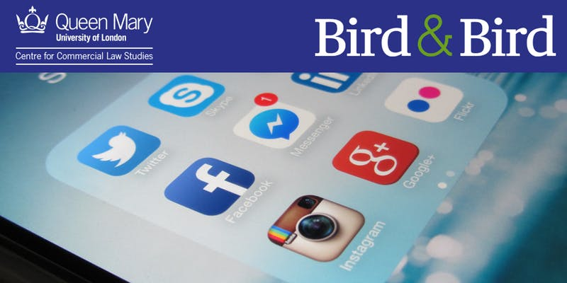 An image with a blue strip at the top with CCLS and Bird & Bird logo with an image of a phone screen and apps