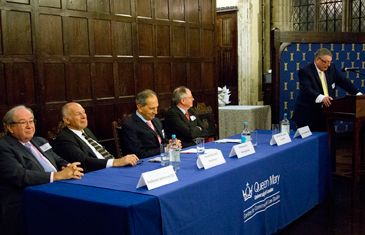 Prof Lew, Lord Neuberger, Sir Bernard Rix, Sir Ross Cranston and Robin Callender Smith