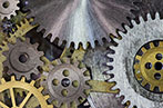 A bunch of cogs in a machine all interlinked together