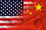 USA and China flags overlapping
