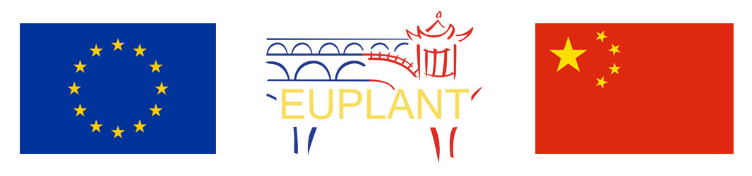 EU flag, EUPLANT logo and China flag