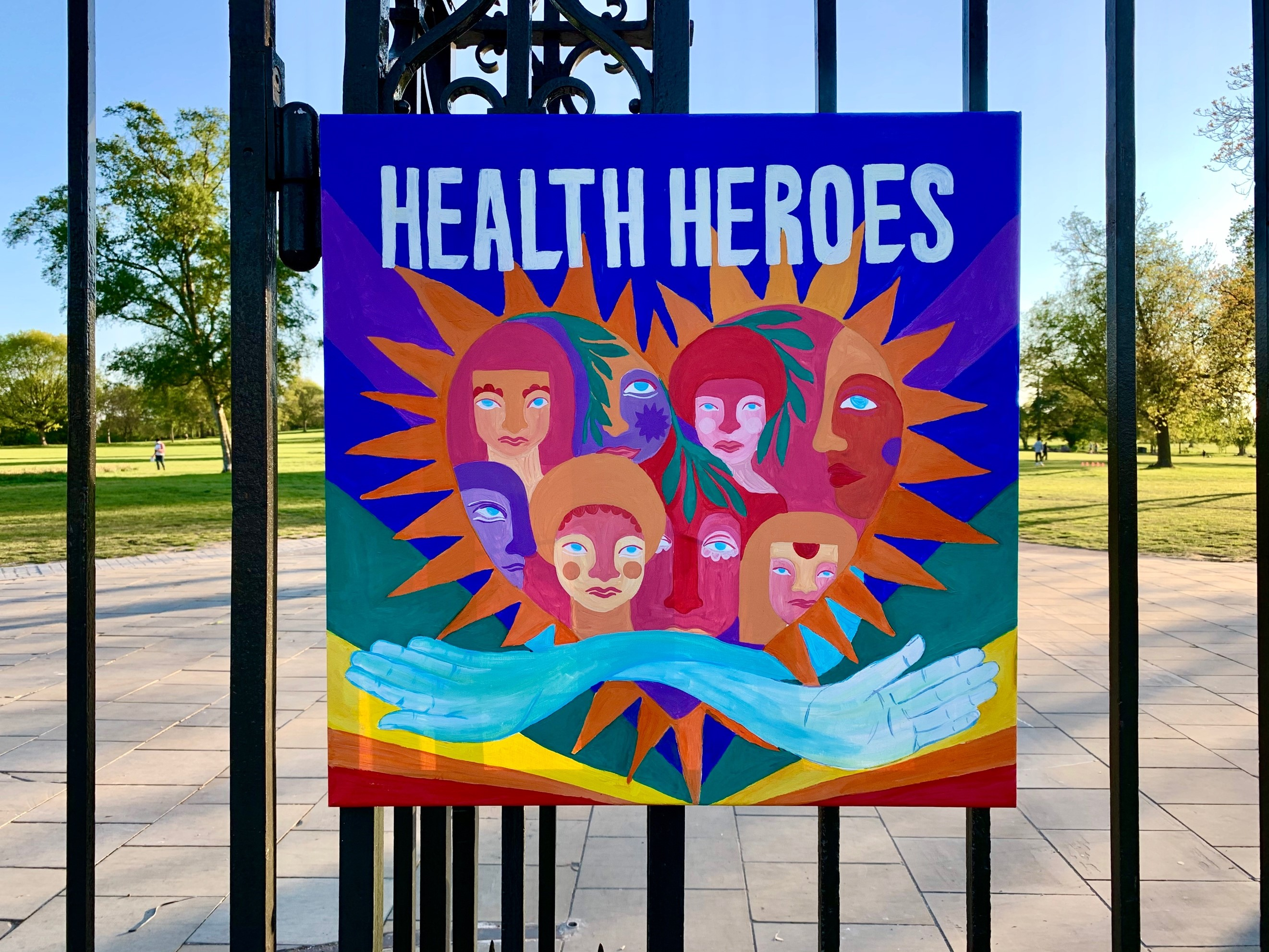 Poster on park gate, 'Health Heroes', copyright: Joe Penny
