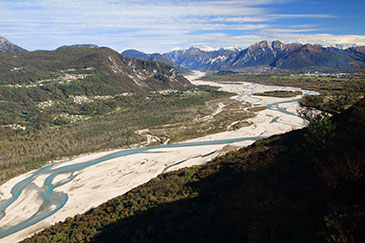 The near-natural Tagliamento River in northern Italy is a field research site for river scientists in the School of Geography