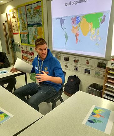 Ambassador Jason Lynch shares his passion for geography with pupils at Bow School