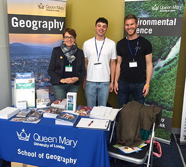 Kate Amis with 'supergeographers' Will Flynn and Jason Lynch at the GA conference