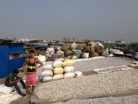 Plastic drying in Dharavi