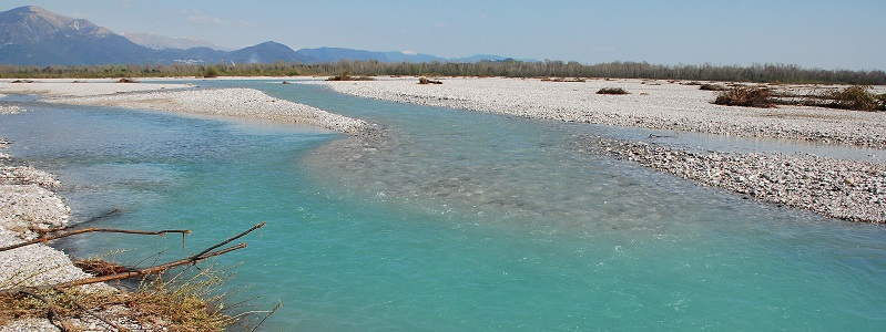 A section of the Fiume Tagliamento river in northern Italy.