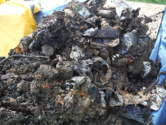 Waste excavated from Hadleigh Marsh waste filled flood embankment in Essex, UK