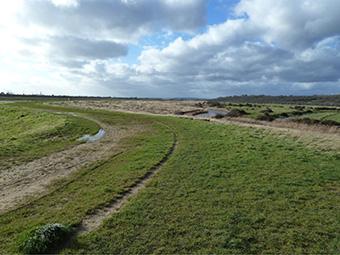 Hadleigh Marsh waste filled flood embankment in Essex, UK