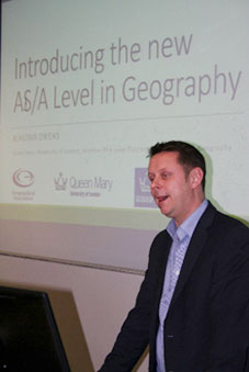 Professor Owens talks to local teachers about A Level geography changes, 2017.