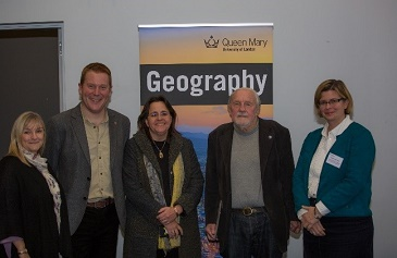 Tom Slater (left) with David M Smith (right), Professor Alison Blunt (far right) and David's family