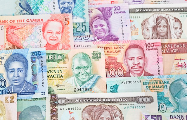 A montage of banknotes from various African countries.