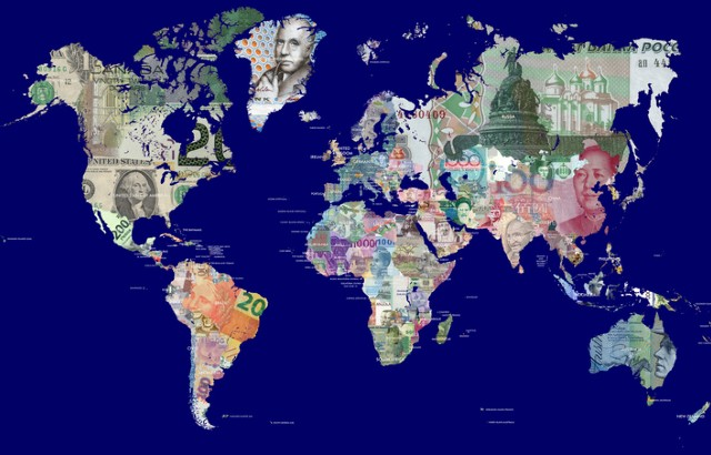 A map of the world made up of banknotes from different countries.