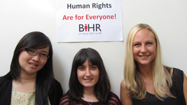 Three British Institute of Human Rights LLM interns standing side by side