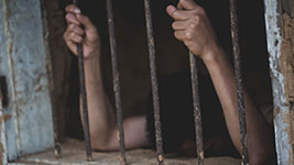 A person in a prison cell holding on to the bars, and their head lying on the wall