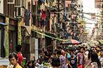 A busy market street in Yangon in Burma
