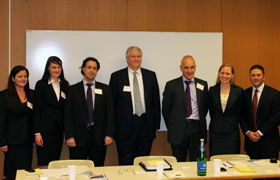 The Queen Mary, University of London Vis Moot Team at their oral arguments in Vienna