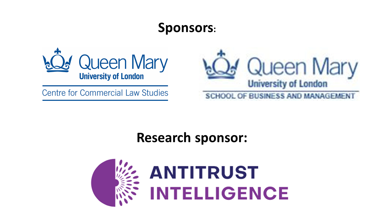 Logo collage with Queen Mary Centre for Commercial Law Studies, Queen Mary School of Business and Management and Antitrust Intelligence
