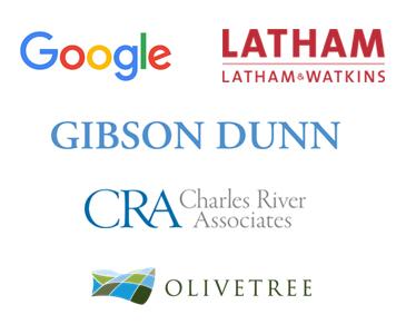 Google, Latham and Watkins, Gibson Dunn, Charles River Associates and Olivetree logos