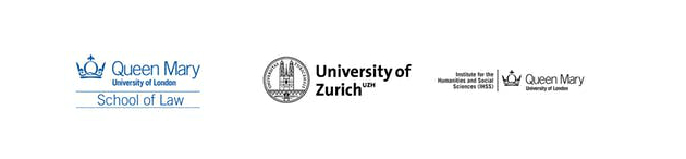 The logos of the School of Law at Queen Mary University of London, University of Zurich and Queen Mary University of London Institute for the Humanities and Social Sciences laid out side-by-side on a white background