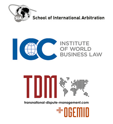 School of International Arbitration, Institute of World Business Law and TDM logos