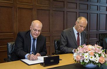 Professor Spyros Maniatis (Director of CCLS), Francis Gurry (Director General of WIPO) Photo credit: © WIPO 2014. Photo: Emmanuel Berrod