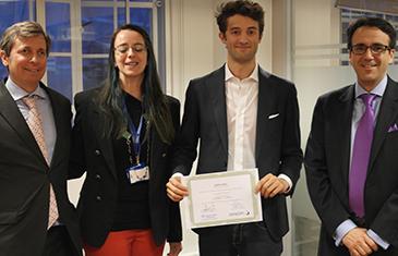 Alexander de Daranyi (Sanofi), Dr Costanza Russo (CCLS), Andrea Vassia (Winner) and Professor Rodrigo Olivares-Caminal (CCLS)