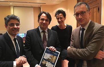 Left to right: Professor Francois-Guy Trébulle, Dean of the Sorbonne Law School; VM; Professor Joan Divol, Director of External Relations, Sorbonne Law School; Professor Hervé Ascensio, Sorbonne Law School.