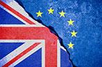 EU and Union Jack split diagonally by a crack