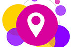 Big pink bubble with a location icon in the middle, surrounded by purple and yellow bubbles