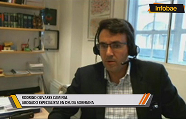 Professor Rodrigo Olivares-Caminal speaking on Infobae TV Argentina