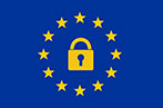The EU flag with a padlock in the middle of the circle of stars