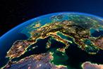 Satellite image of Europe at night