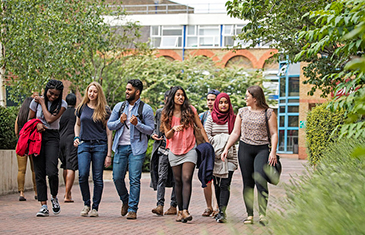 Students walking through the QMUL campus