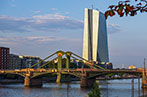 Image of Frankfurt's Green Bridge with the European Central Bank building in the background