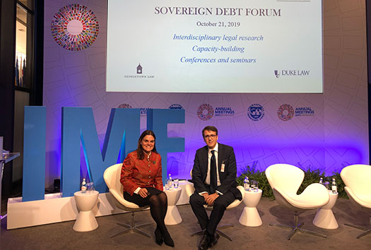 Rosa Lastra and Rodrigo Olivares-Caminal at the launch of the Sovereign Debt Forum