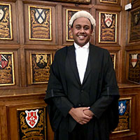 Kamran Khan in his barrister's gown and wig
