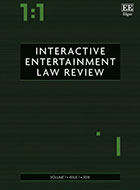 Interactive Entertainment Law Review cover - green with 1:1 in the left corner