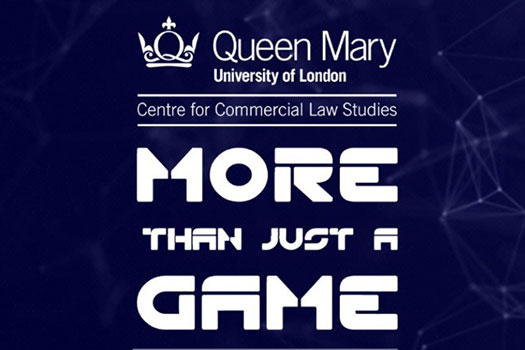 white Centre for Commercial Law Studies logo on top of the white More Than Just a Game logo on a blue background