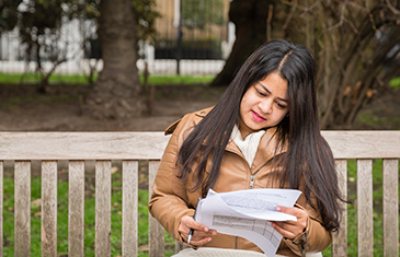 Student reading in Lincoln's Inn Fields