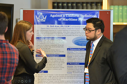 PhD students discussing topics at the PhD research student conference